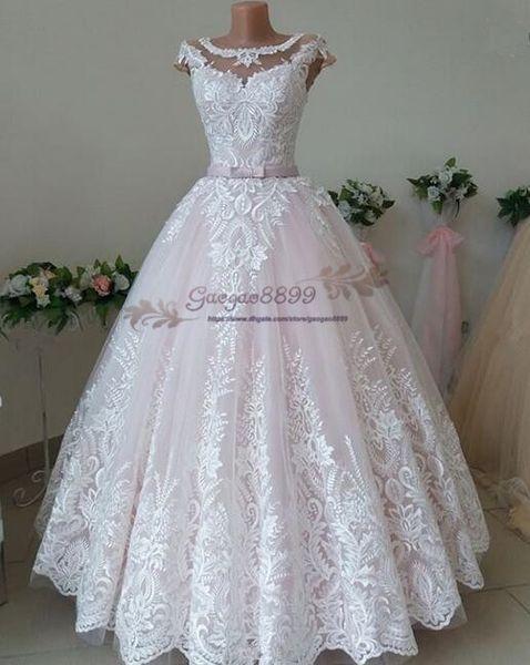 2019 gorgeous 3D Foral Lace country garden Dubai Arabic plus size long puffy Wedding Dresses Bridal Gowns custom made vestidos de novia
