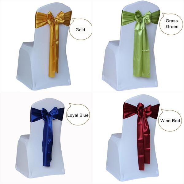 100 adet Saten Düğün Sandalye Kanat Bow Tie Düğün Dekorasyon Otel Parti Malzemeleri için Saten Kurdele Sandalye Bantları