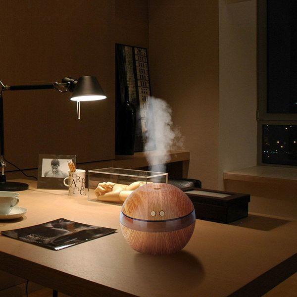 Grano de madera USB Luz LED Ultrasónico Difusor de aroma de aceite Purificador de niebla de aire para oficina Hogar Coche Usd fYa7