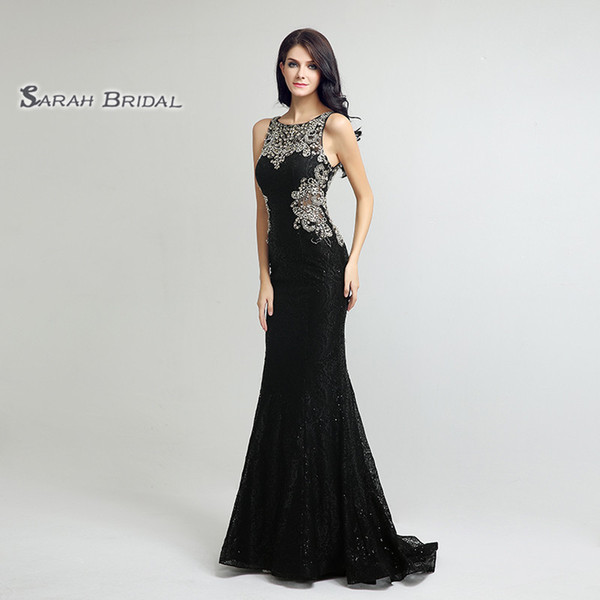 Luxury Tulle Mermaid Crystals Sequins Prom Hollow Back 2020 Sexy Sheer Bodice Elegant Vestidos De Festa Evening Occasion Gown LX171
