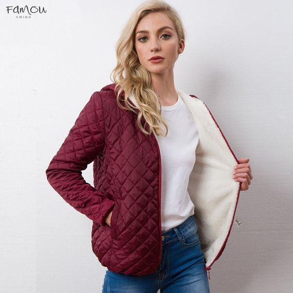 Sonbahar Yeni Parkas Kış Temel Ceketler Kadın Artı Kadife Kuzu Kapşonlu Palto Pamuk Kış Ceket Bayan Dış Giyim Coat