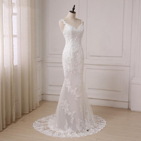 White Applique Backless Wedding Dresses 2019 Custom Plus Size Lace V Neck Sheath Bridal Dress Spaghetti Country Wedding Gowns Boho