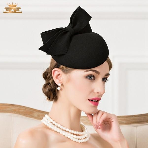 d5425c001 Lady Fedoras Woolen Hat Vintage Black Wool Pillbox Hat Wedding Party  Fascinator Hats For Women Chapeau Pour Mariage Cap B 7536 D19011102 Beach  Hats ...