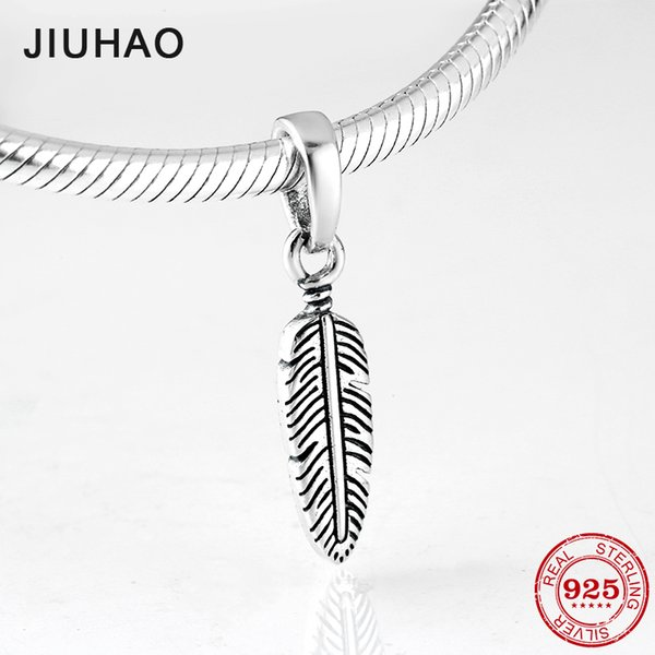 New 925 Sterling Silver Swan Feathers Fashion Charms pendants Fit Original Pandora Charm Bracelet Bangles Jewelry making