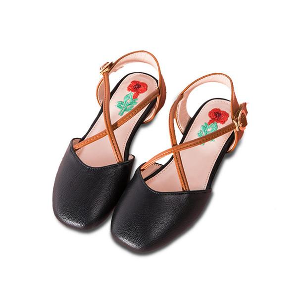 VINTAGE Fashion Girls Shoe kids designer shoes Summer Children Sandals leather Girl Shoes Kids Sandals princess Childrens Shoes A2576