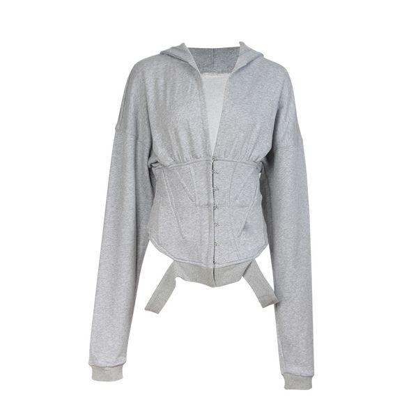 Giacca da donna sportiva giacca a vento cintura fasciatura con cappuccio manica lunga Joker sciolto giacca donna