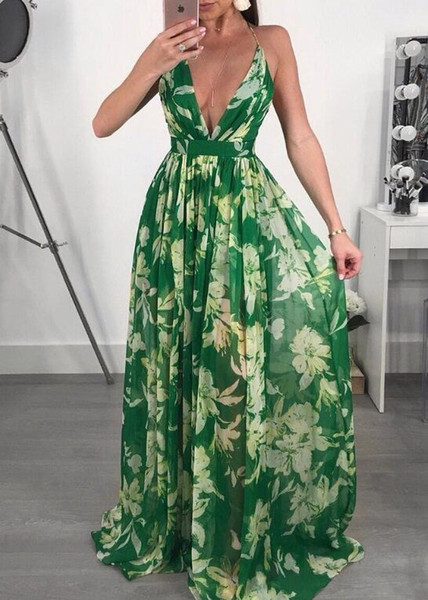 Autumn Vintage V neck Floral Print Dress Women Elegant Long Sleeve Maxi Dress Ladies Tassel Bohemian Dress Plus Size 2XL