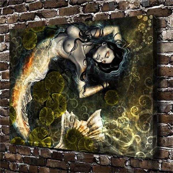 Sleeping Mermaid,1 Pieces Home Decor HD Printed Modern Art Painting on Canvas (Unframed/Framed)