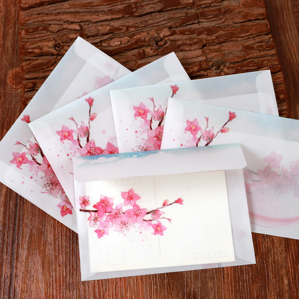 5pcs Beautiful Peach Blossom Greeting Cards Gift Cover Lovely For Student w47 Party Paper Envelope