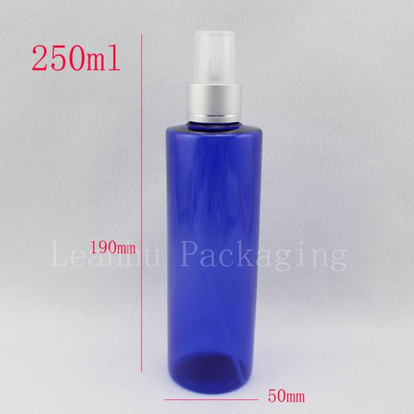 Atacado 250 ml frasco de spray de plástico azul com a bomba, 250cc perfume vazio ajuste de maquiagem de alumínio frascos de recipiente de spray nozzle