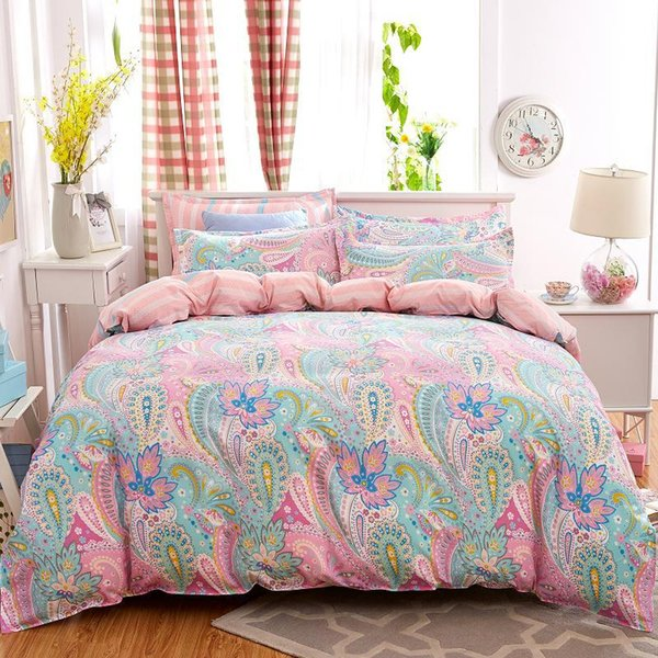 Wholesale-UNIHOME Bohemian Bedding Set Polyester Cotton Soft Bed Linen Duvet Cover Pillowcases Bed Sheet Sets Home Textile Coverlets