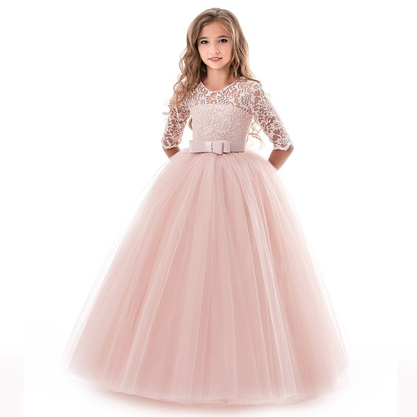 2019 Hot Sale Kid Girls Lace Bowknot Princess Wedding birthday Performance Formal Tutu Dress Clothes Vestido Long dress