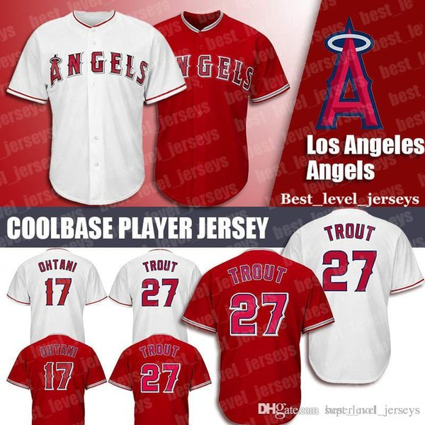 Les anges Jersey 27 Mike Trout Jersey 17 Shohei Ohtani Maillots Coolbase