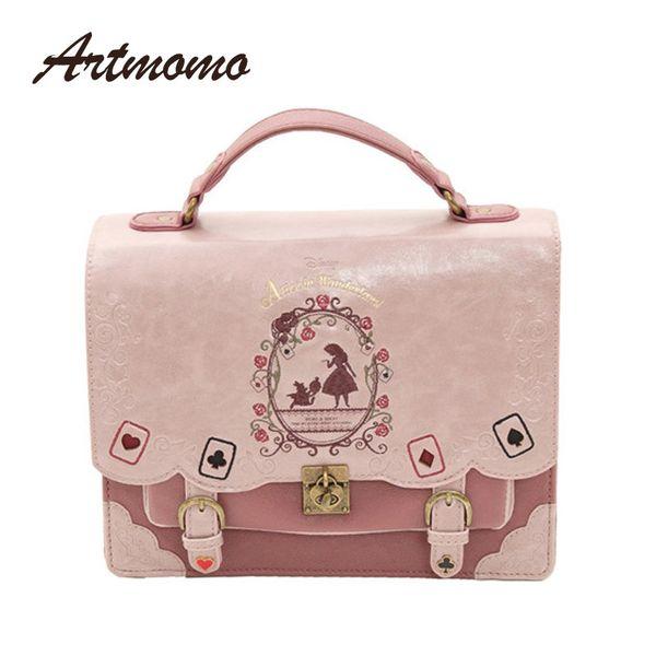 Alice In Wonderland Shoulder Bags Axes Femme Vintage Student Schoolbag Playing Cards Silhouette Handbag Leather Bag Y19061803