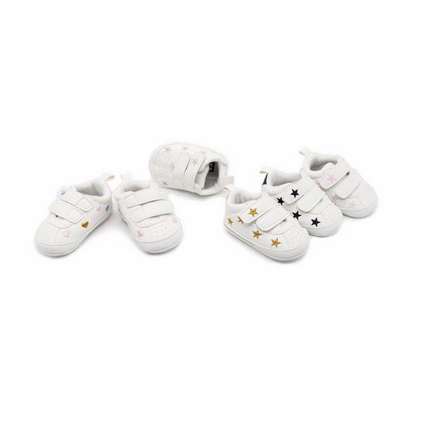 DHL 50 par Niños recién nacidos Chicas Corazón Modelo de estrella Primeros caminantes Niños pequeños Zapatillas de deporte de PU con cordones 0-18 meses Primeros caminantes