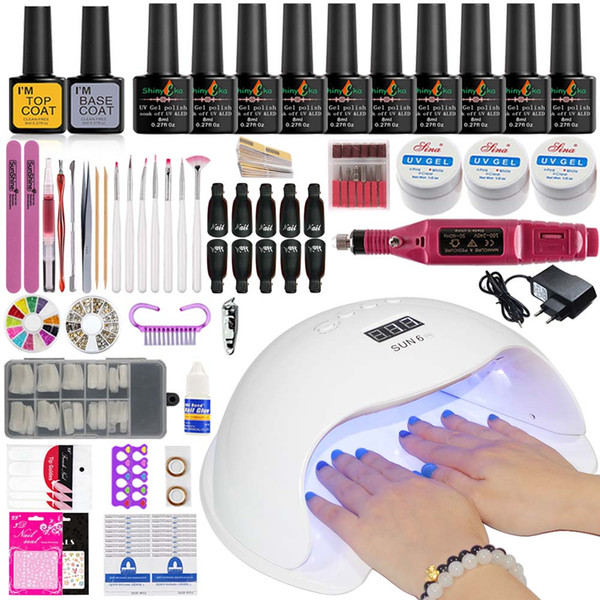 best selling Manicure Set Nail Kit Electric Manicure Handle Acrylic Nail Set 36w 54 72w Led Lamp for Nails Builder Gel 10 Polish Kit