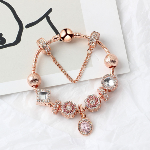 best selling New rose gold oval pendant bracelet oval pink crystal cat-eye pendant gift for girls free shipping
