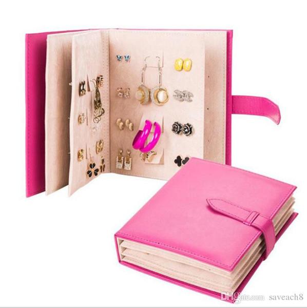 4 Cores Caderno Brinco Jóias Organizador PU De Couro Brinco Caixa De Armazenamento De Jóias Mulheres caixa de presente Para Exibição de Jóias para decorações