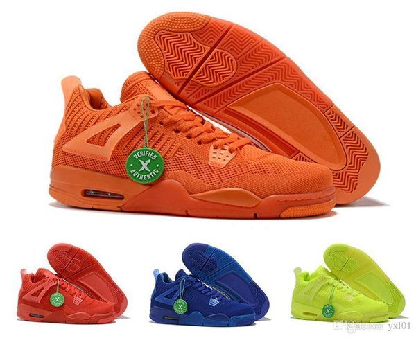 Fly Summer Jumpman 4 2019 Knit Total Orange Hyper Royal Blue University Red Volt Mens Basketball Shoes 4s Breathable Sports Sneakers US7-13