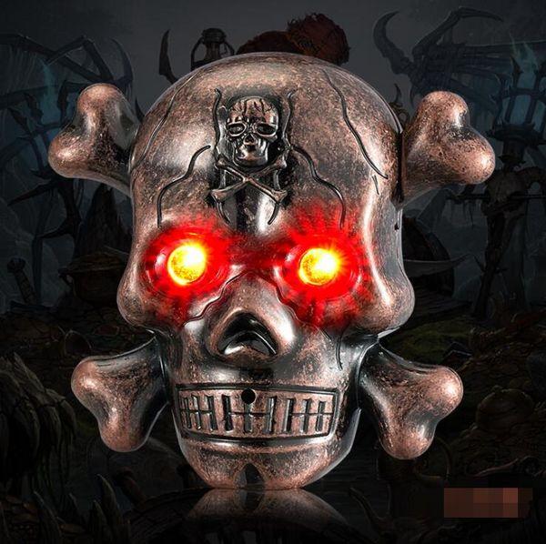 Date Coloré Ghost Crâne Os Alliage De Zinc USB Électronique Briquet Illuminent Des Yeux D'horreur Son Cyclique De Charge Pour Cigarette Fumer Pipe