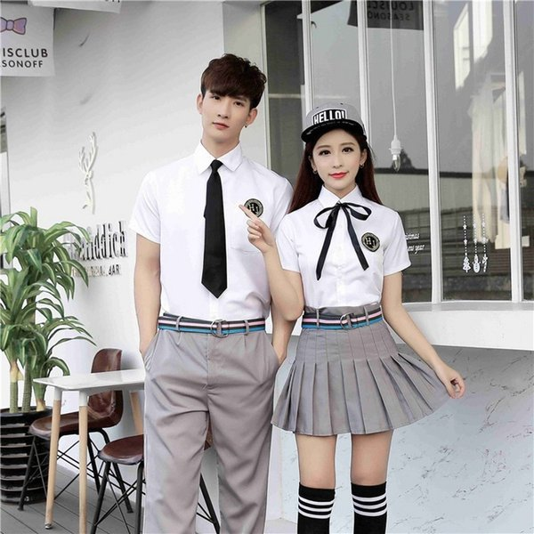 Free Shipping New sexy lingerie cosplay School uniforms for men and women high school students JK uniform Japanese college wind short sleeve