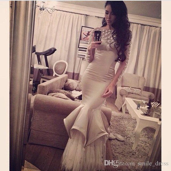 long dresses evening 2015 sexy arabic sheer long sleeves mermaid satin beaded tulle high neck champagne prom evening dress