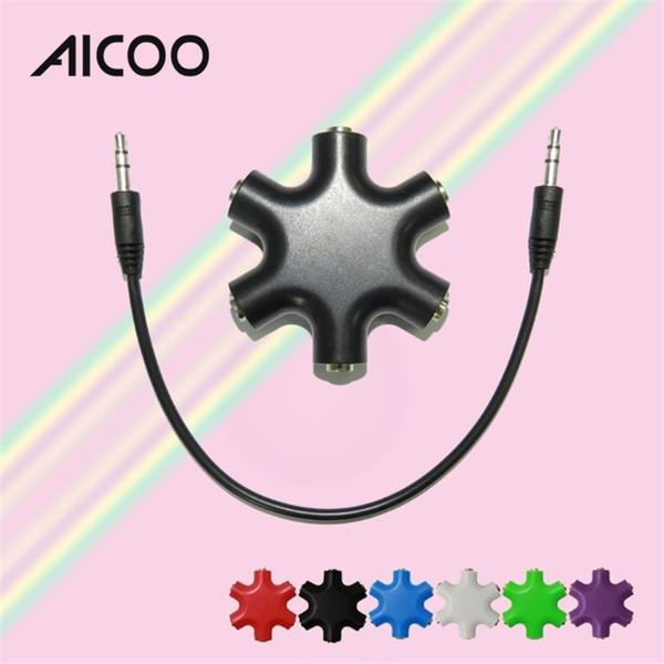 AICOO Colorful Snowflake Audio Converter Multifunction One for Five Portable Music Sharer 6*3.5mm Splitter OPP