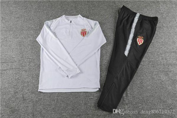 S-XXXL Monaco Manga Longa Camisola Terno de Futebol Jersey 2019 Monaco Branco Uniforme De Treino 2018/19 Futebol Ternos Camisola Kits Com Calças