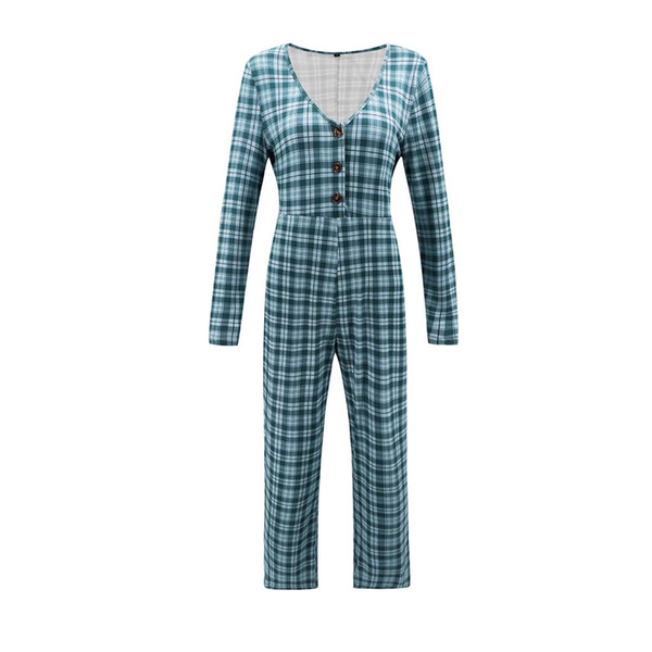 Feitong Deep V Neck Women Jumpsuit Plaid Elegant Stylish Jumpsuit Long Sleeve High Waist Jumpsuits Female Overalls Shein