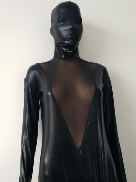 Moda negro metalizado con malla tipo V body body completo zentai Unisex Lycra Spandex Zentai Body Body Sin cabeza Vestido de lujo Catsuit