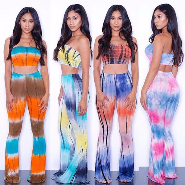 Além disso Verão Tamanho 2 Piece Set Mulheres Criss Cross Tie Dye alargamento Set Bandage Top Curto calças perna larga Roupas Femininas Set