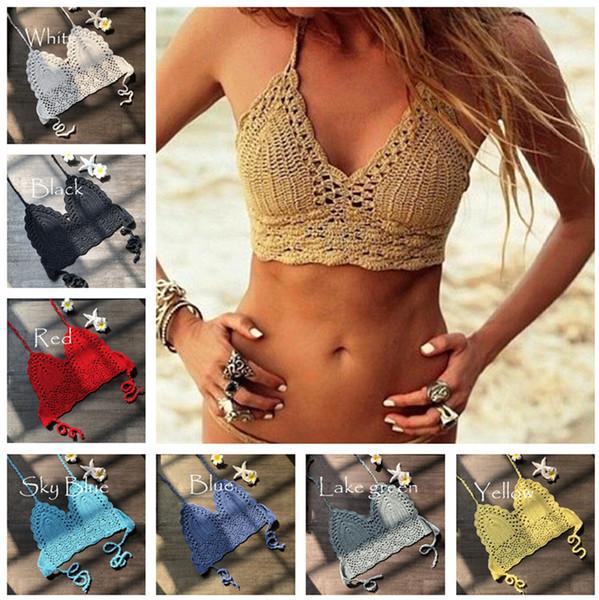 Fashion Crochet Lace Bikini Vest Knitted Bra Women Bandage Push-up Boho Beach Padded Bras Halter Cami Tanks Crop Top Thong Knit Swimwear