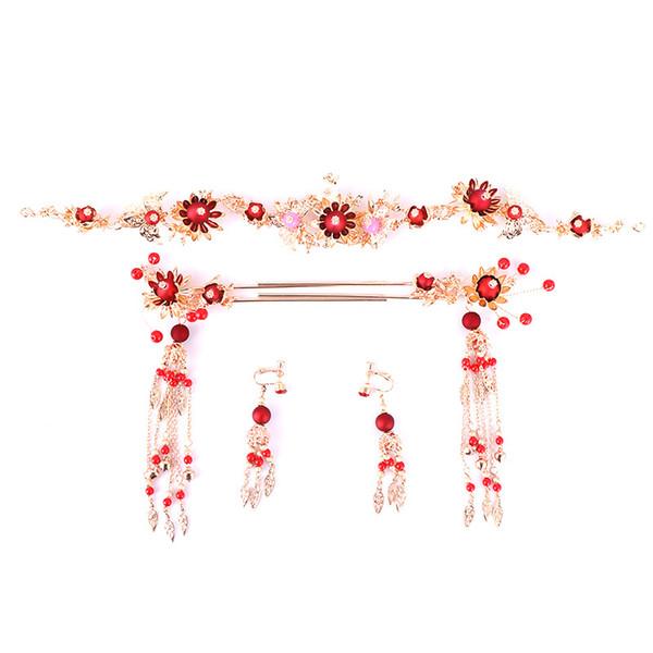 Frauen Schöne Blume Rot Farbe Simulation Perle Haarnadel Krone Ohrringe Schmuck Braut China Stil Hochzeit Haarschmuck Set