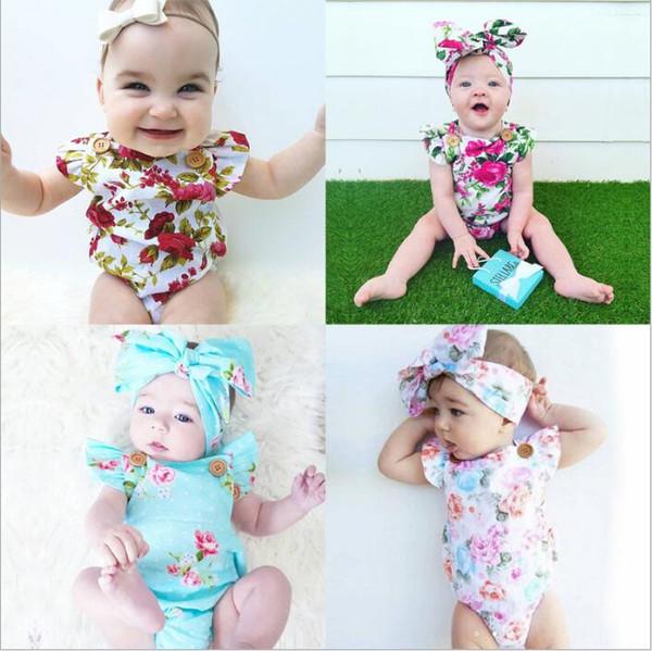 Ropa para niños bebés Niñas Romper Diadema Floral Flores Trajes Moda de verano Onesies Body Trajes de pelo Conjuntos de ropa para niños Ropa para niños B4948