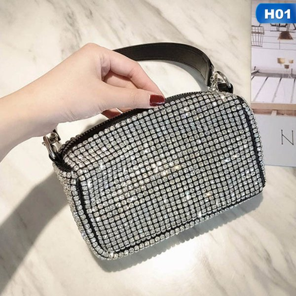 1 pc full rhinestone clutches bag women men handle handbag evening bag crossbody messenger clutches dropship new arrival