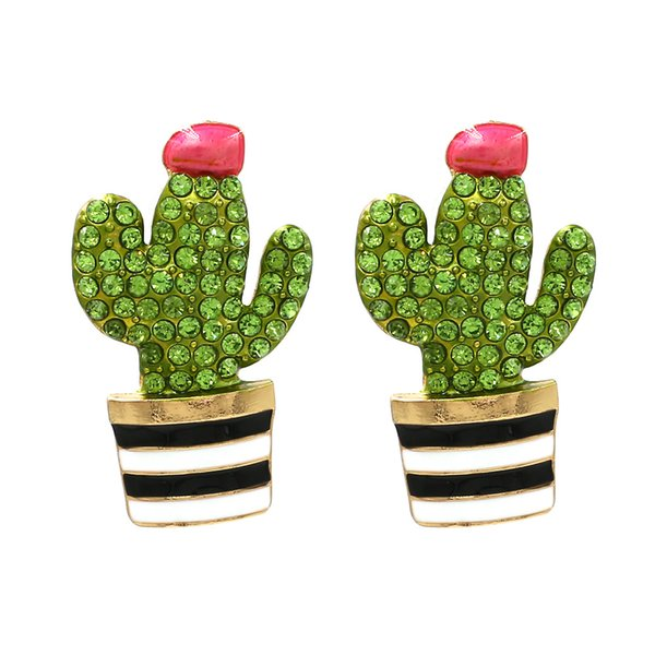 european and american fashion hand-painted colored glaze cactus with drill earrings cute alloy oil dripping flower earrings, Golden;silver