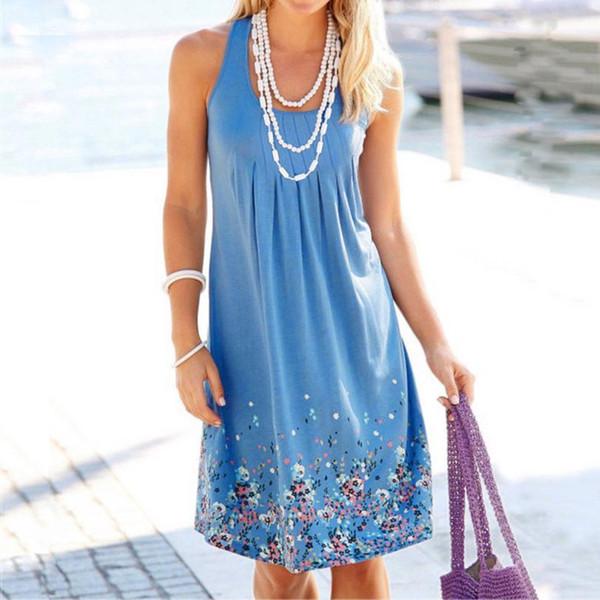 Kadın Elbise Yaz Kısa Baskı Kolsuz Akşam Parti Elbise O-Boyun Gevşek Plaj Yelek Elbise Kadın jul31 giysi tasarımcısı