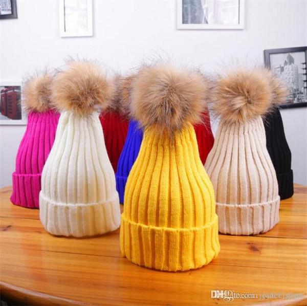 Baby Cap Faux Fur Hat For Girls And Boys Crochet Pompom Bobble Kids Cap Knitted Winter Children's Hats Caps