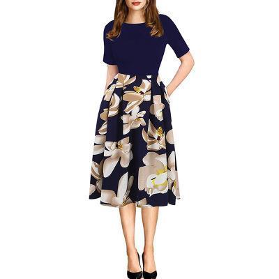 Женские винтажные лоскутные карманы Puffy Swing повседневное вечернее платье