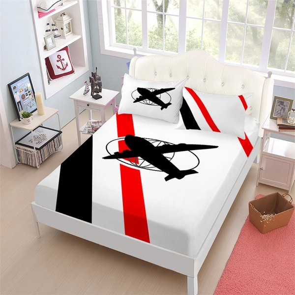 Cartoon Airplane Bedding Set Red Black Patchwork Bed Sheet King Queen Fitted Sheet Bed Linens Bedclothes Pillowcase Home Textile