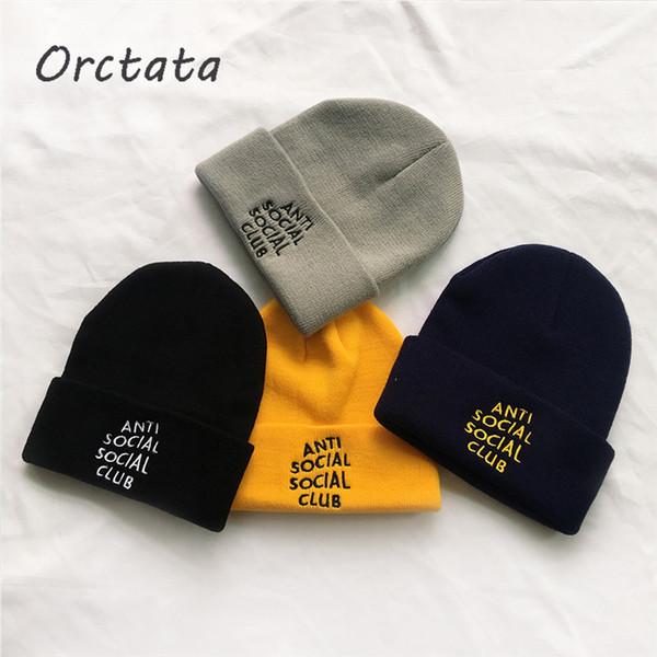 Chic Cartas Bordado de punto Beanie Hat Cap Unisex Mujer Hombre Otoño Sólido Hip-hop Clásico Primavera Invierno Punto Skullies Cap Hat