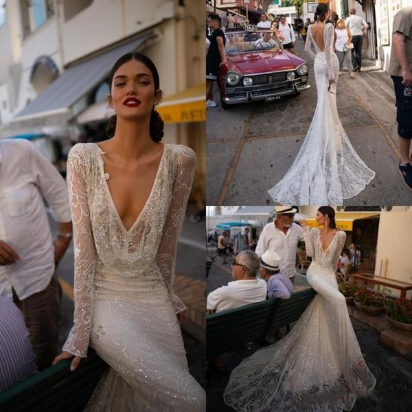 인발 인 Dror 2020 웨딩 드레스 V 넥 스팽글 레이스 인어 신부 드레스 긴 소매 등이없는 비치 웨딩 드레스 사용자 정의