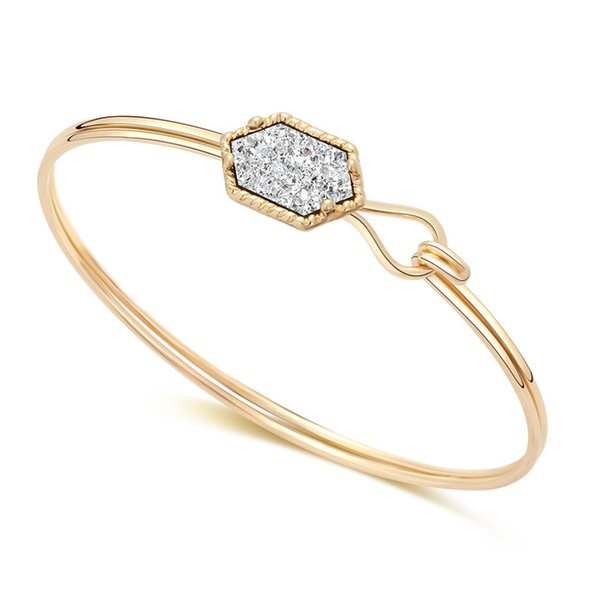 Open type bracelet new Simple rhombus Natural stone gold silver plated 7 color Western style Bracelets wholesale