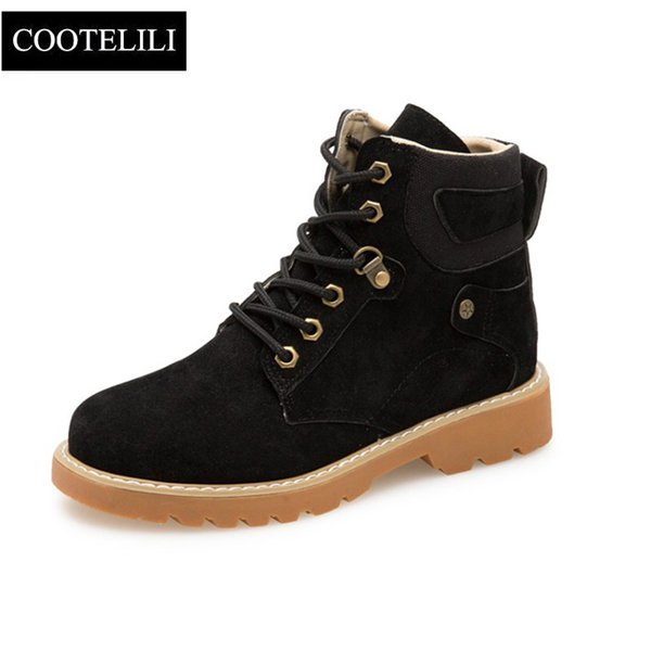 COOTELILI Fashion Rubber Ankle Boots For Women Motorcycle Boots Female Cool Casual Flat Shoes Woman Autumn Winter Shoes Ladies