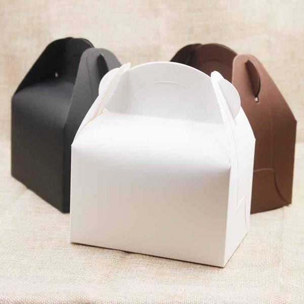 50 adet / grup Kolu Ile Büyük Kraft Kağıt kutusu hediyeler Düğün / şeker Beyaz Karton Kek Kutusu paketi için siyah Kek Kutusu hediyeler