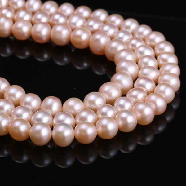 JNMM Natural Freshwater Cultured Pearls Beads Round 100% Natural Pearls for Jewelry Making Necklace Bracelet 14 Inches Size 7-8mm Fashion