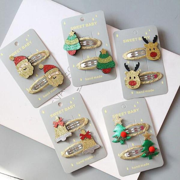 Mulheres Meninas Clipe Bandas de Natal bonito cabelo Grampos dos desenhos animados Headwear crianças Barrettes Toddlers Cabelo jóias de Charme