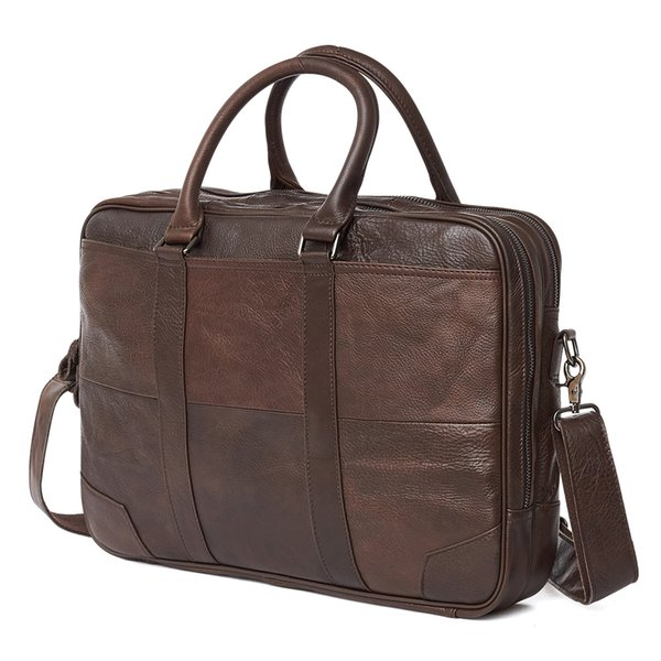 Brand New Genuine Leather Shoulder Bag Men's Handbag Male Cowhide Messenger Bag Cross Body Handle Pack 15' Briefcase Portfolio