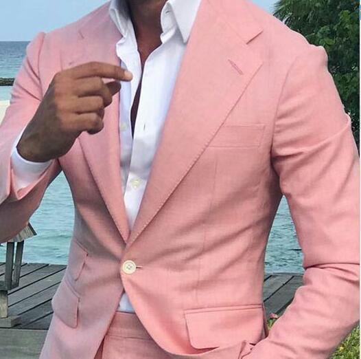 2019 WL Personnalisé Été Hommes Costumes Pour La Plage De Mariage Rose D'affaires Homme Blazers Marié Tuxedo 2 Pièce Slim Fit