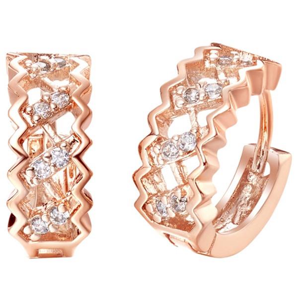Boucles d'oreilles en argent sterling 925 avec cristaux Juwelen de forme carrée, plaqué or rose et strass, manchette d'oreille de mariage R320
